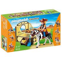 5516 Playmobil Country Cavalo De Rodeio Com Estábulo