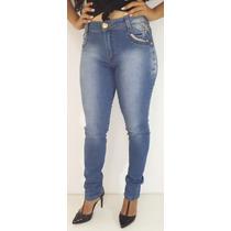 Calça Jeans Strass Cos-alto E Levanta Bumbum
