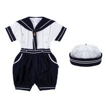 Conjunto Marinheiro Infantil Bebê - Veste 10 A 18 Meses