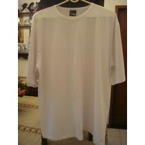 Blusa Em Malha Fria Branca Tam. Gg Camisa Detalhe Na Frente
