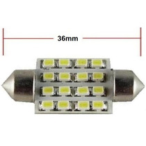 Kit 2pcs Lâmpada 16 Leds Torpedo Automotiva Luz Branca 36mm!