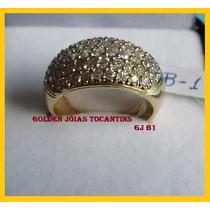 Anel C/ Brilhante Mais Barato Ouro 18k 10 Camadas Gj B1
