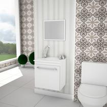 Balcão Gabinete De Banheiro Flox 460 Branco Com Lavatório