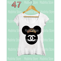 Camiseta T-shirt Feminina Minnie Chanel Coroa Disney