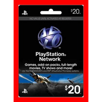 Playstation Network Card Cartão Psn $20 + Envio Imediato