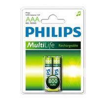 Pilha Recarregável Philips Aaa 1,2 V 800 Mah Original 2 Un