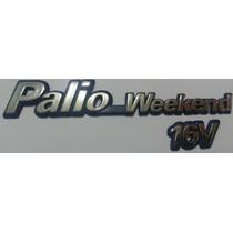 Emblema Palio Weekend 16v Cromado Com Fundo Azul- Fiat