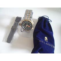 Relógio Aqualand Atlantis Serie Ouro Pulseiras Aço Borracha