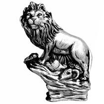 Leão Na Rocha Em Gesso Prata - Estatueta