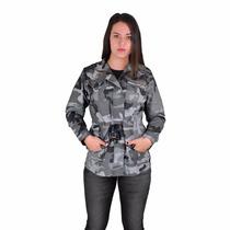 Jaqueta Militar Feminina Camuflado Urbano Estonado P Ao G