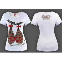 Blusa Camiseta Bordada Gato Paetê Super Fashion