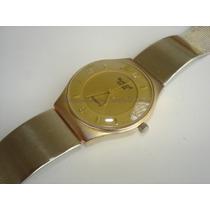 Relogio Pulso Quartz Swatch Dourado - Usado N Estado