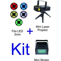 Mini Laser Projetor + Fita Led 3mm 12v + Mini Strobo Luz Led