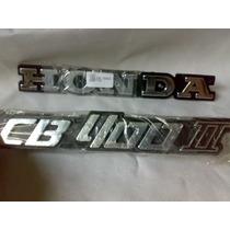 Kit Emblema Honda Cb400 2 Cor Prata De Pvc,tanque E Laterais