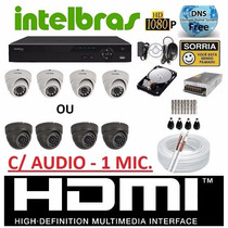 Kit 4 Cameras Infra Dome Dvr Intelbras 4 Canais 960h D1 + Hd
