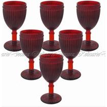 Conjunto De Taças Para Agua Em Cristal Vermelho