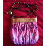 Bolsa Pequena Tecido Rosa Artesanal Com Miçangas