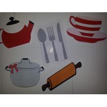 Kit Bandeirinhas Chá De Panela/cozinha (apliques Utensílios)