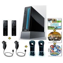 Nintendo Wii Black Destravado + 6 Controles + 3 Jogos