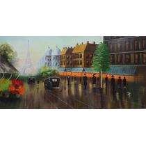 Pintura Óleo Sobre Tela- Paisagem Paris(100x50cm)sem Moldura