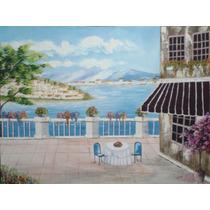 Pintura Óleo Sobre Tela-paisagem Casario(80x60cm)sem Moldura