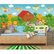 Papel Parede Painel Adesivo Safari Infantil Zoo Mod26