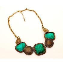 Maxi Colar Pedras Verdes - Bronze Envelhecido - No Brasil