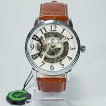 Relógio Masculino Luxo Ecotime Automatico Esqueleto Couro