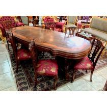 Mesa De Jantar Estilo Antigo Marchetada Com Cadeiras