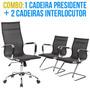 1 Cadeira Presidente + 2 Cadeiras Interlocutor Em Couro P.u.