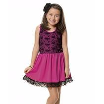 Vestido Com Renda Rosa Pink 4 A 12 Anos-sob Encomenda