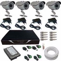 Kit 4 Câmeras Segurança Gravador Casas Comércios