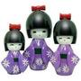 Bonecas Kokeshi Japonesas De Madeira Roxa Trio 3peças