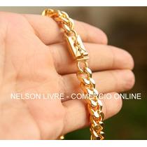 Conj Corrente 90cm + Pulseira Banhadas A Ouro Fecho Gaveta