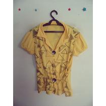 Camisa Feminina Amarela Estampada Malha Cód 165