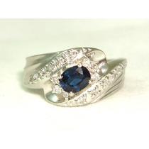 Pocao2005-anel De Platina Com Diamantes E Safira Fretgratis
