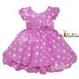 Vestido Infantil Festa Minnie Rosa Tam 1 Ao 3 Com Tiara