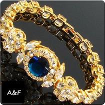 Pulseira Safira Azul E Diamantes Folheada Ouro 18k (059)