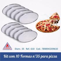 Kit Com 10 Formas Para Pizza De 35 Cm Em Aluminio