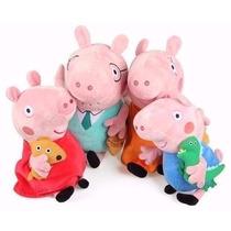 Peppa Pig E Família De Pelúcia 4 Personagens Pronta Entrega