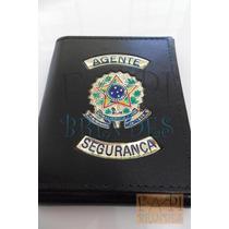 Porta Cheques Cédulas Notas Agente Segurança Couro Legítimo