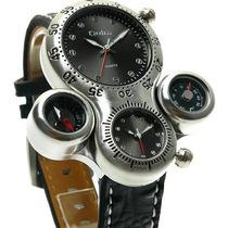 Relógio Sport Black Oulm Ou15 Russo Bússola E Termômetro