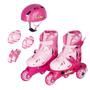 Patins Tri-line/in-line + Kit De Proteção Ajust 30 A 33 Rosa