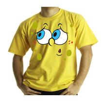 Camiseta Adulto Ou Infantil Bob Esponja Desconfiado