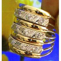 Anel 7 Elos Em Prata 950kl E Ouro 12kl Zircônia Frete Grátis