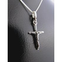 Corrente + Pingente Crucifixo Corpo Jesus Cristo Prata 925k