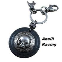 Chaveiro Harley Davidson Metal E Couro Skull