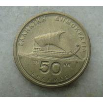 4007 - Grecia 50 Drachma, Apaxmai 1986 - 27mm, Bron/alum