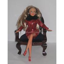 Cadeira Poltrona Vitoriana Veludo E Madeira Barbie Boneca T1