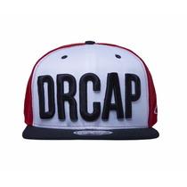 Boné Drcap Preto & Branco Vermelho New Snapback Premium Cap